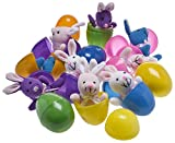 Plush Bunny Filled 3 Colorful Easter Eggs (12 Pack )