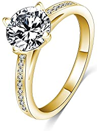 Jewels Galaxy Fashion New Women Round Circle Ring Gold Plated AAA Zirconia Engagement Ring Wedding Party (7)