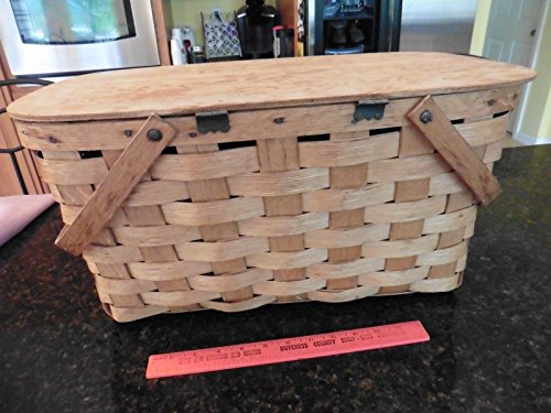 """Vintage Picnic basket wooden X-large 2 handles hinged top apx 20"""" x 12"""" x 10"""" 1"""