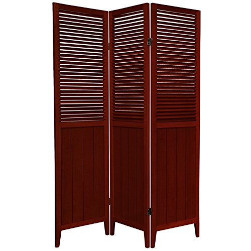 Oriental Furniture 6 ft. Tall Beadboard Divider - Rosewood - 3 Panels (Louvered Folding Screen compare prices)