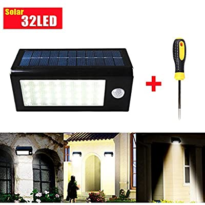 GRDE® 400 Lumens 32 LED Solar Powered PIR Motion Sensor Light, Rechargeable Waterproof Outdoor Solar Wall / Porch / Pathway / Garden / Street Light