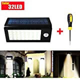 GRDE® 400 Lumens 32 LED Solar Powered PIR Motion Sensor Light, Rechargeable Waterproof Outdoor Solar Wall / Porch / Pathway / Garden / Street Light (Screwdriver Included)