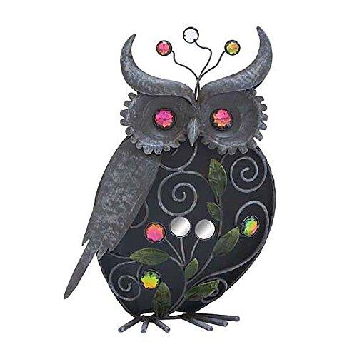 Metal Jewled Owl Sculpture Decoration, Home Garden Decor, 12-inch, Black