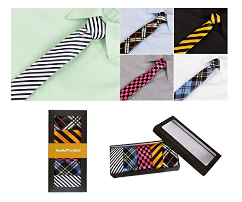 Bundle Monster Mens Fashion Business Solid, Woven, Stripes Necktie Tie Mixed Set