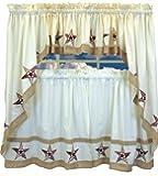 Country Stars - Ecru/Red - 24'' tier (pr) Kitchen Curtain