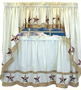 Country Stars - Ecru/Red - Insert Valance Kitchen Curtain