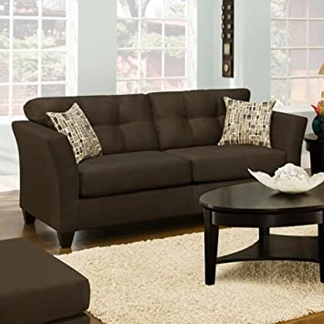 Chelsea Home Del Mar Sofa in Beijing Chocolate - Greeley Neutral Pillows