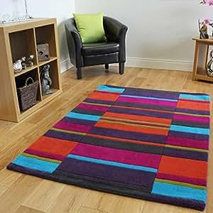 Tapis moderne rayures multicolores fait main 100 laine pure cuisine maison - Tapis rayures multicolores ...