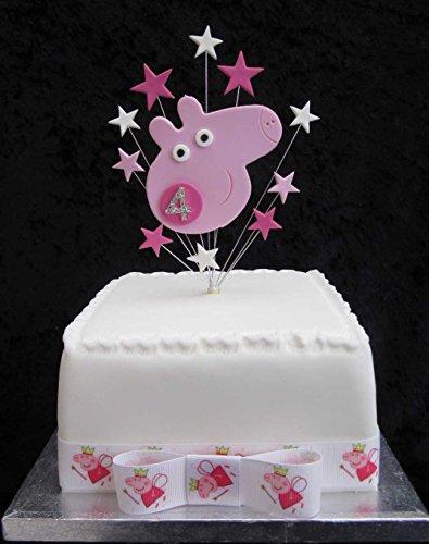 Karen's Cake Toppers Décoration de gâteau d'anniversaire 4 ans Motif Peppa Pig avec âge en brillant Pour petit gâteau