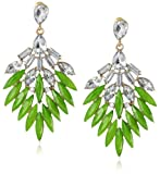 Peridot and Crystal Statement Gold Tone Earrings