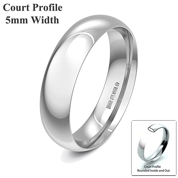 Xzara Jewellery - 18ct White 5mm Court Profile Hallmarked Ladies/Gents 5.7 Grams Wedding Ring Band