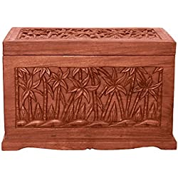 EXP Handmade Furniture 23-Inch Tropical Palm Tree Design Wood Storage Chest/Coffee Table