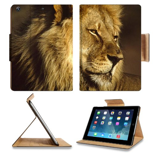 Animal Wildlife Africa Lion King Cat Pride Mane Predator Apple Ipad Air Retina Display 5Th Flip Case Stand Smart Magnetic Cover Open Ports Customized Made To Order Support Ready Premium Deluxe Pu Leather 9 7/16 Inch (240Mm) X 7 5/16 Inch (185Mm) X 5/8 Inc front-257674