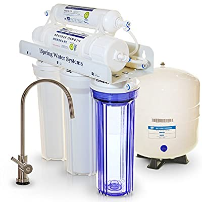 iSpring RCC7 - Most Popular, Built in USA, WQA Gold Seal Certified, Top Notch 5 Stage 75 GPD Reverse Osmosis Water Filter w/ Transparent 1st Stage & Designer Faucet