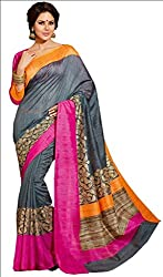KRIZEL Grey Bhagalpuri Silk Saree With Blouse