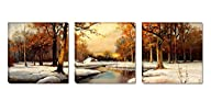 Mon Art – Scenery Beautiful Trees river Snow Portray Modern Canvas Art Wall Decor Realistic…