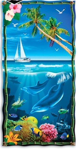 """Made In Brazil 30/"""" x 60/"""" Tropical New Floral Beach Towel Velour"""