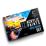 Creative Joy Acrylic Paint & Brush Set - Paint on Canvas, Wood, Clay, Fabric And Ceramic - Vivid, Rich Pigments With Lasting Quality - Great For Beginners, Students & Professional Artists - 12 Colors