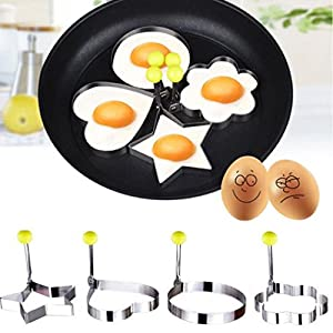 DaySeventh Stainless Steel Fried Egg Shaper Pancake Mould Mold Kitchen Cooking Tools Home Kitchen Dining & Bar (C, Silver)
