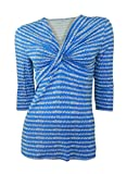 House of Fraser Linea 3/4 sleeve blue print stretchy v neck top with knot detail size medium