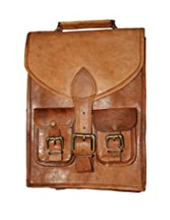 "HLC-(Handmade Leather Craft) 15"" Real Leather Rucksack Handmade Messenger Vintage Bag Backpack Satchel"
