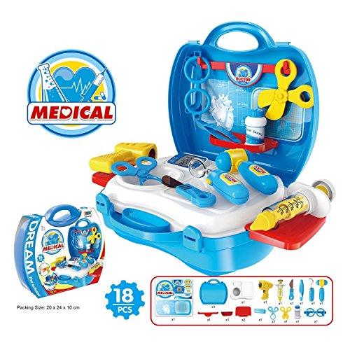 Medical-Box-Doctor-Set-Nurse-Medical-Kit-Playset-for-Kids-Children-Pretend-Play-Tools-Toy-Set-18-Piece-Blue