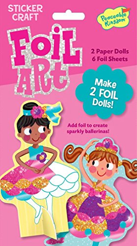 Peaceable Kingdom Foil Art Ballerina Stand-up Dolls Sticker Craft Pack