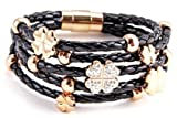 Black Braided Leather Five Strand Bracelet with Clovers and Rings Charms White Pave Crystals.
