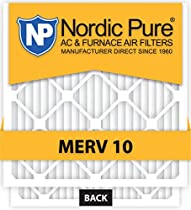 Nordic Pure 12x20x1 MERV 10 Pleated AC Furnace Air Filter, Box of 6