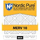 Nordic Pure 14x20x2 MERV 10 Pleated AC Furnace Air Filter, Box of 3
