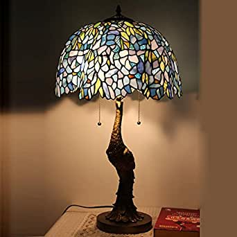 April 39 S Tiffany 16 Inch European Living Room Den Glass Table Lamp