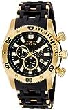 Invicta Sea Spider Men's Quartz Watch with Black Dial  Chronograph display on Black Plastic Strap 0140