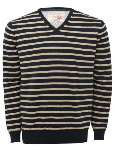 Mens V Neck Striped Long Sleeve Jumper Knitwear Grey Marl XL