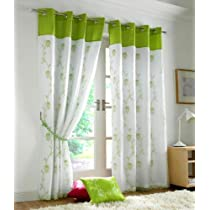 LIME GREEN ORGANZA SILK TAFFETA 56X54 CURTAINS DRAPES