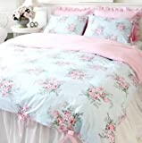 Shabby and Elegant Blue Rose/pink Gingham With Cute ribbon ties Cotton 4pc Bedding Set, Queen Size
