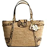 Coach Limited Edition Straw Natalie Shopper Bag Tote Natural Python Embossed Trim – Coach 16839NAT Review