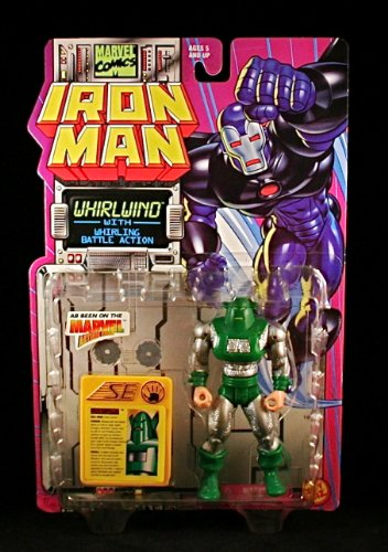 WHIRLWIND w/ WHIRLING BATTLE ACTION Iron Man 1995 Marvel Comics Action Figure and Accessories - 1