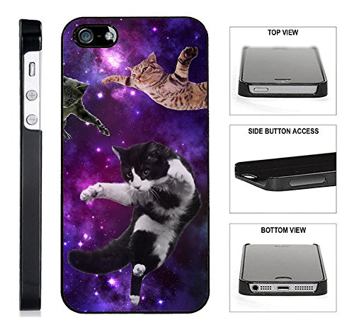[TeleSkins] - Cats Flying Space Hipster Triangles - iPhone 4 / 4S Black Plastic Case - Ultra Durable Slim & HARD PLASTIC Protective Vibrant Snap On Designer Back Case / Cover for Girls. [iPhone 4 /4S] (Cool Iphone 4s Back Glass compare prices)