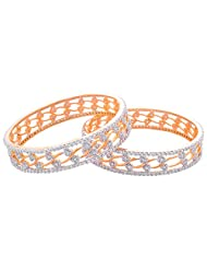 Sapna Jewellery CZ Studded With Gold And Silver Polish Bangle For Women's - B00QF77FY6