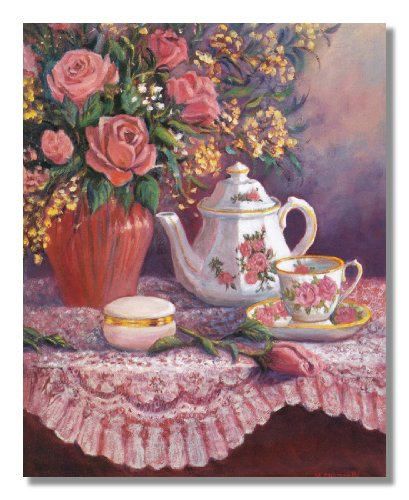 Rose Flower Bouquet with Tea Pot Setting on Table Wall Picture 8x10 Art Print