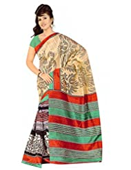 AKS Worldshop Raw Silk Printed Saree