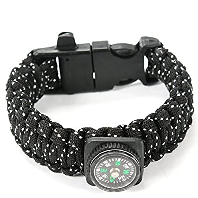 Paracord Survival Bracelet 550lb Milspec with Compass, Fire Starter Scraper, and Whistle by ARMSTAC + Lifetime Warranty by ARMSTAC