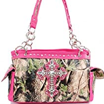 Bright Pink Camo Bling Cross Purse & Wallet Set