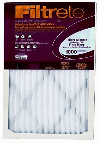 "3m Air Filter Electrostatic, Micro Allergen 20 "" X 25 "" X 1 "" Pleated 1000 Mpr Merv 11"