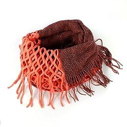 NOVAWO® Fashion Women Winter Warm Knit Long Scarf Tassels Shawl Infinity & Straight (Orange)