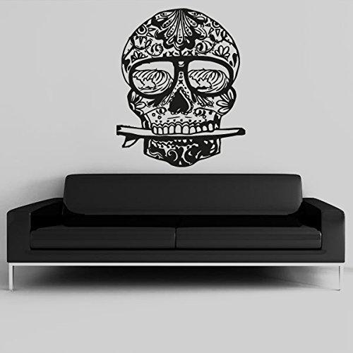 Wall Decal Vinyl Sticker Decals Art Decor Design Surf Waves Skull Tattoo Face Pattern Damask Salon Studio Bedroom Gift Dorm Office(R1030) front-1045387