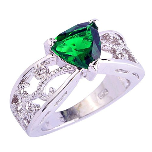 Psiroy 925 Sterling Silver Stunning Created Gorgeous Women's 9mm*9mm Triangle Cut Emerald Quartz Solitaire Filled Ring