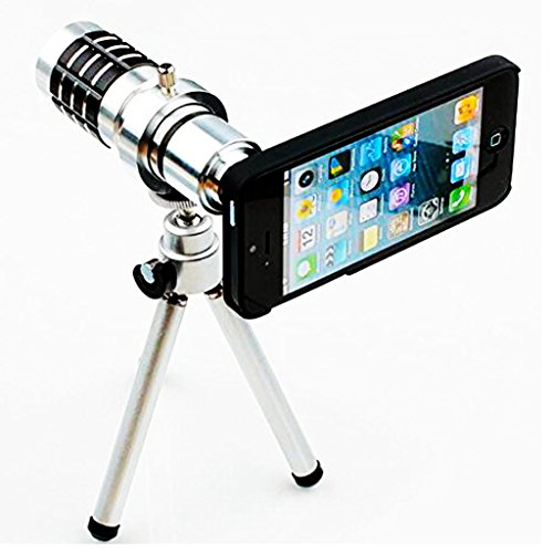iPhone 6 12x Telescope Camera Lens, Runflory(TM) 12x Optical Zoom Camera Lens Aluminum Telescopic Kits with Mini Tripod & Black Back Cover Case for Mobile Apple iPhone 6 4.7