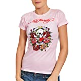 Ed Hardy Womens Love Dies Hard Graphic Tee Shirt - Pink - Large