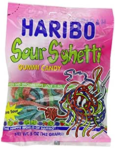 Haribo Gummi Candy, Sour S'ghetti, 5-Ounce Bags (Pack of 12)